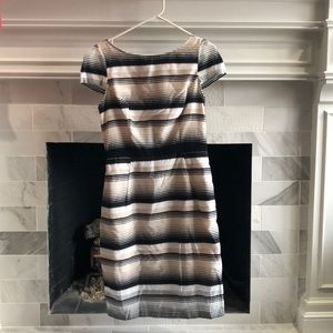 ABS cap sleeve sheer stripe tea length dress